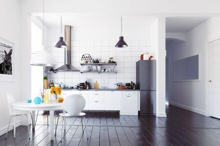 Modern scandinavian style kitchen interior. 3d rendering design Banco de Imagens