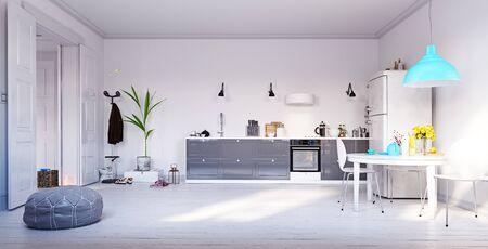 Moderne keuken interieurontwerp. 3D-renderingconcept