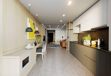 Interior de estudio moderno. Diseño de renderizado 3d
