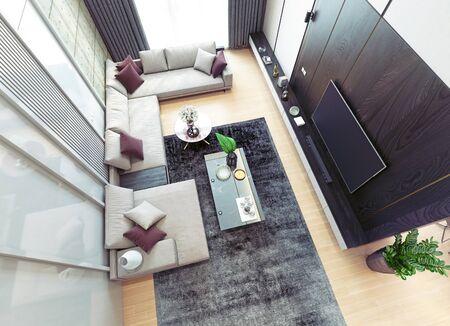 Modern luxury interior design. 3d rendering concept