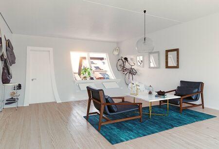 Mizarre interior. 3d rendering creative concept idea Banco de Imagens