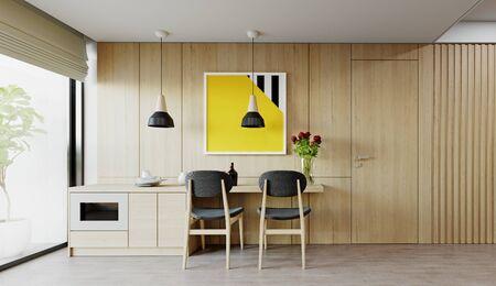 Modern dining interior. 3d rendering design Banco de Imagens
