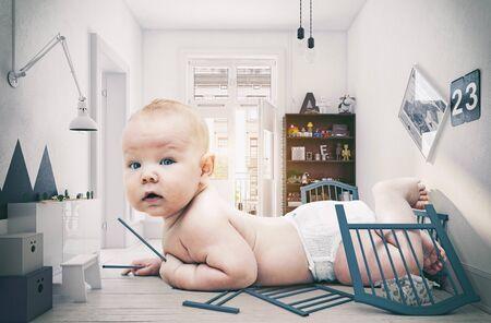 Bebé gigante en la habitación de los niños. Idea creativa de renderizado 3d Foto de archivo