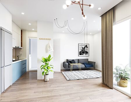 Modern  living interior design. 3d rendering concept Standard-Bild - 126487374