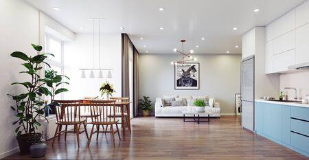 Diseño de interiores de vida moderna. Concepto de renderizado 3d