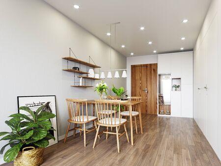 Modern  apartment interior design. 3d rendering concept