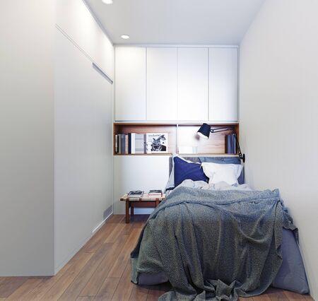 Scandinavian style bedroom interior. 3d rendering concept design