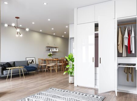 Modern  living interior design. 3d rendering concept
