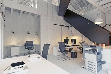 Modern eco office, country architecture design.