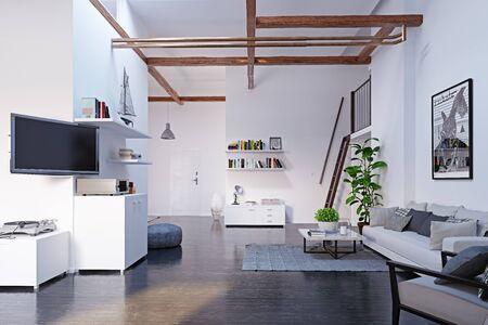 Modern attic interior design. Banco de Imagens
