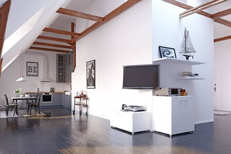Modern loft kitchen interior design. Standard-Bild - 127732964