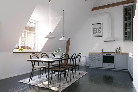 Modern loft kitchen interior design.