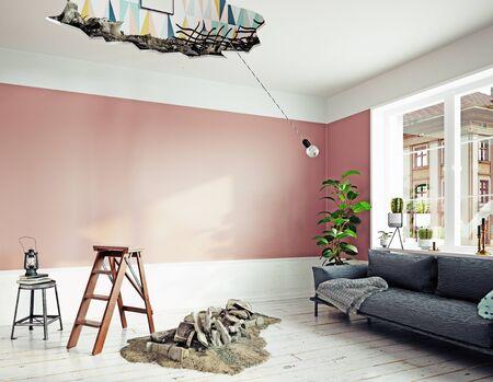 Broken ceiling in the room.