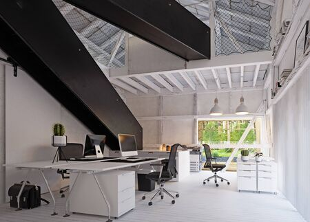 Modern eco office, country architecture design. Standard-Bild - 127732999