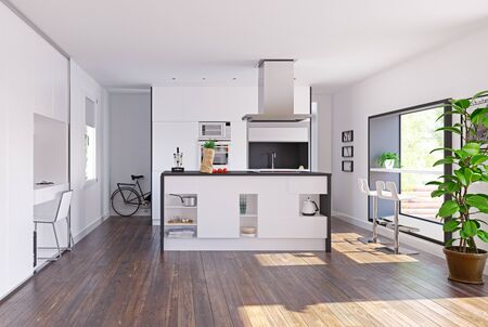 Modern home kitchen with table in the window. 3d rendering concept Standard-Bild - 128002138