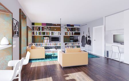 Modern home  with table in the window. 3d rendering design concept