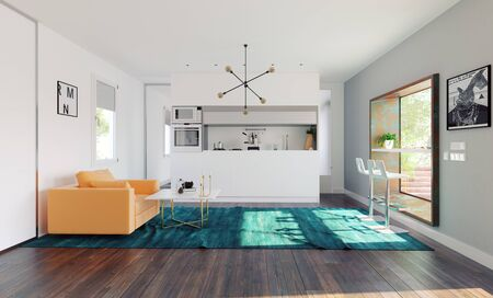 Modern home kitchen with table in the window. 3d rendering design concept Standard-Bild - 128002134