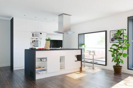 Moderne Wohnküche mit Tisch im Fenster. 3D-Rendering-Konzept