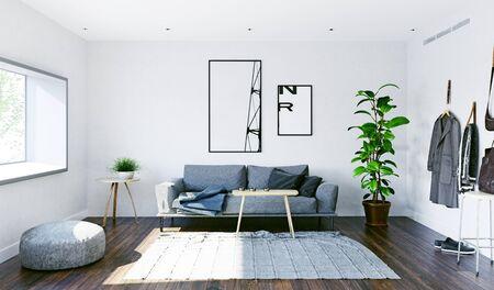 Modern living interior design. 3d rendering concept Standard-Bild - 128002014