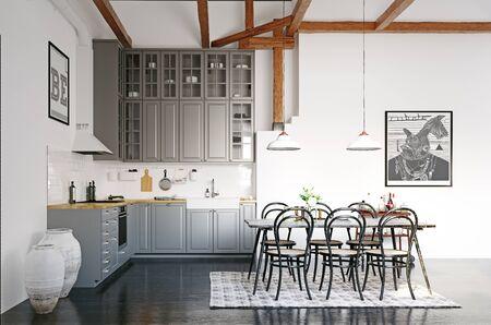 Modern loft kitchen interior design. 3d rendering concept
