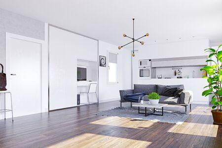 Modern home  interior. 3d rendering design concept Banco de Imagens