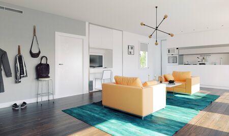 Modern home kitchen. 3d rendering design concept