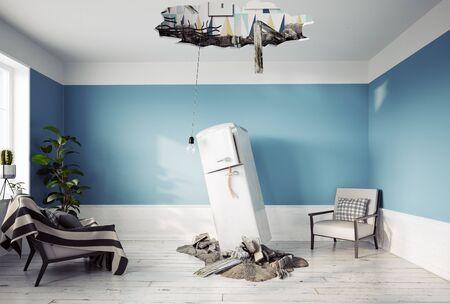 Broken ceiling and falling refrigerator. 3d rendering concept