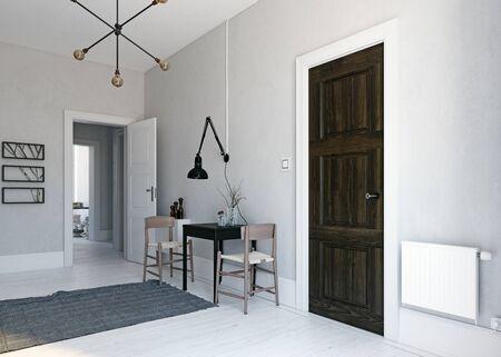 Modern  scandinavian style dining interior. 3d rendering design Zdjęcie Seryjne