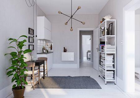 Modern  scandinavian style kitchen interior. 3d rendering design Zdjęcie Seryjne