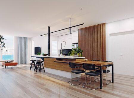 Modern  kitchen interior. 3d rendering design concept Standard-Bild - 129272038