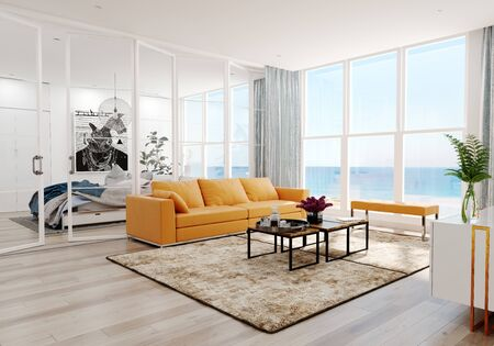 Modern  sea view living room interior. 3d rendering design concept Reklamní fotografie - 129272042