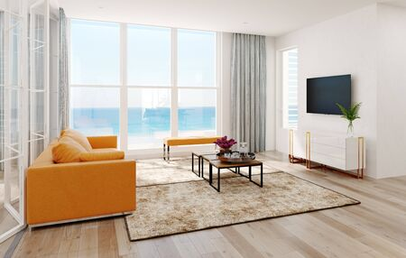 Modern  sea view living room interior.