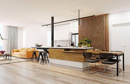 Modern  kitchen interior. 3d rendering design concept Standard-Bild - 129272044