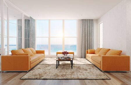 Modern  sea view living room interior. 3d rendering design concept Stok Fotoğraf - 129272050