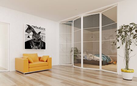 Modern  apartment  interior. 3d rendering design concept 写真素材