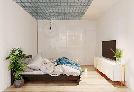Modern  bedroom interior. 3d rendering design concept Standard-Bild - 129272048