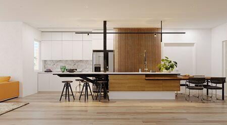 Modern  kitchen interior. 3d rendering design concept Standard-Bild - 129272052