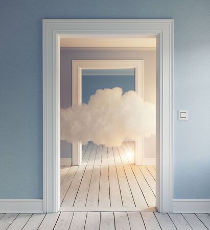 Cloud in the room. 3d creative concept rendering