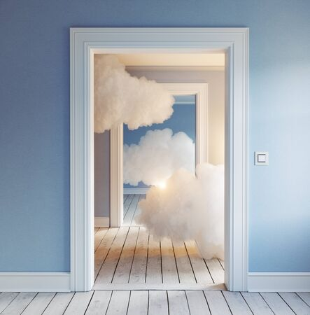 clouds in the room. 3d creative concept rendering