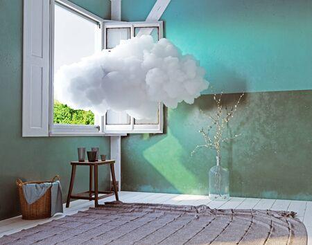 cloud in the room. 3d creative concept rendering Standard-Bild - 130122607