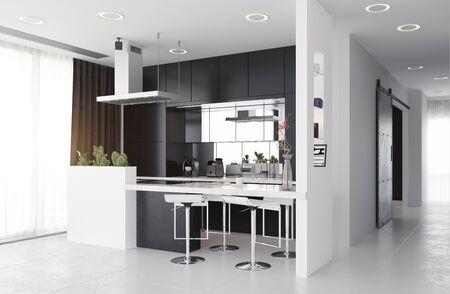 modern kitchen black&white interior. 3d rendering design concept Standard-Bild - 130122609