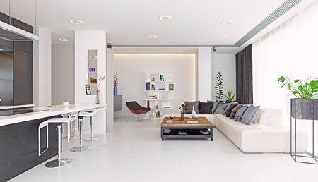 Modern living room design. 3d rendering concept Standard-Bild - 130122616