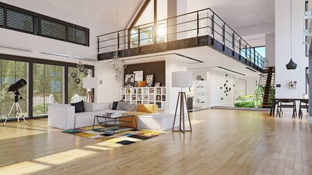 modern house interior. 3d rendering design concept Standard-Bild - 130122618