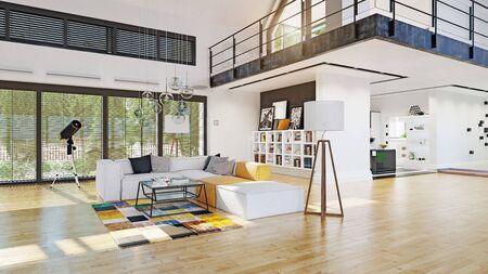 modern house interior. 3d rendering design concept Standard-Bild - 130122621