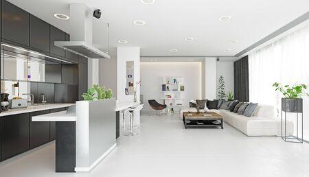 Diseño de sala de estar moderno. Concepto de renderizado 3d Foto de archivo