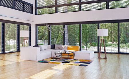 modern house interior. 3d rendering design concept Standard-Bild