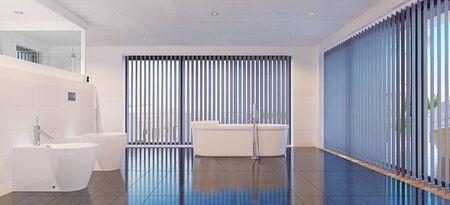 modern bathroom interior. 3d rendering design Standard-Bild - 131464475