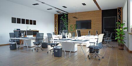 Modern office interior design concept. 3d rendering design Reklamní fotografie