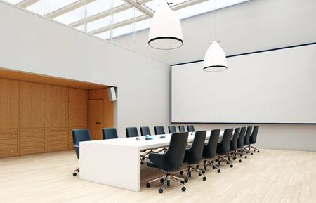 Contemporary office conference room interior. Business concept design. 3d rendering idea