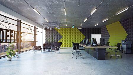 modern office interior, 3d rendering concept design